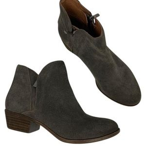 Lucky Brand Brenon Gray Suede Ankle Booties sz 6.5